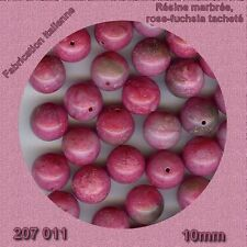 207011 ***20 perles résine FUCHSIA/ROSE marbré 10mm