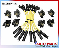 SPARK PLUG WIRES SET + 8 NEW IGNITION COILS YUKON XL SIERRA H2 V8 4.8L 5.3L 6.0L