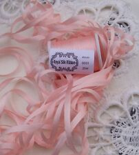 EMBROIDERY RIBBON 100%SILK 4MM 25 YDS ~PEACHY/PINK~ COLOR #531