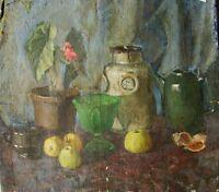 Russian Ukrainian Soviet Oil Painting realism Still Life teapot vase early 1950