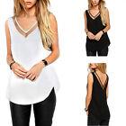 Sexy Women V-Neck Vest Summer Loose Sleeveless Casual Tank Lady T-shirt Blouse