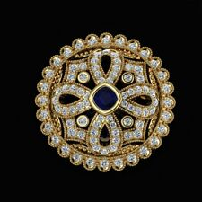 14k Yellow Gold on 925 Sterling Silver Vintage Style Blue Cushion CZ Brooch Pin