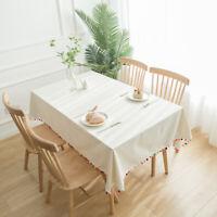 Plain Cotton Linen Tablecloth Rectangle Table Cloth Cover Party Dinner Decor New