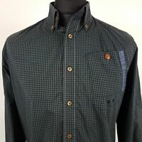 G-Star Raw Mens Shirt MEDIUM Long Sleeve Green Slim Fit Check Cotton
