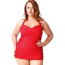 de026f1e1a Unique Vintage Corinne Halter Sheath One Piece Swimsuit Red Pin Dot - 2XL