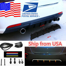 Matte Black Universal Rear Car Bumper Cover 6 Fin Curved Add-on Lip Diffuser USA
