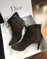 NIB Christian Dior Womens Suede Lace Up Heel Ankle Boot Brown 39 ( US 8.5-9 )
