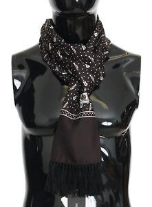 NEW $540 DOLCE & GABBANA Scarf Brown Silk Instrument Fringes Wrap Shawl 30x180cm