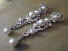Damen Ohrringe Ohrstecker Perlen Strass Lang Farbe Silber Wedding Hochzeit 1724