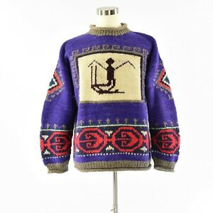 Vintage Backcountry Purple Aztec Design Wool Sweater Mens XL Made in Ecuador