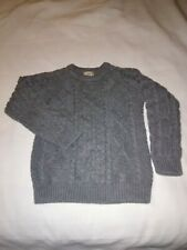 LL Bean Kids Size 8 50% wool blend gray sweater round collar knit cable patterns