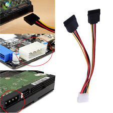 NEW Power Adapter Cable 15 Pin SATA Male to Dual Molex 4 Pin IDE HDD Female