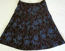 """Boden Skirt 10 10R Brown Corduroy Blue Flower stitching A Line Knee 23"""" length"""