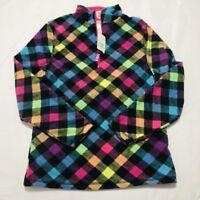 Arizona Girls Quarter Zip Black Checkered Plaid Fleece Pullover XL 14 NEW