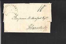 COOPERSTOWN, NEW YORK COVER,1822. RARE MOON SHAPE WITH MS 10 RATE  OTSEGO COUNTY