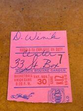 1968 New York Knicks v Detroit Pistons Basketball Ticket Bellamy 32 points