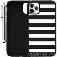 Case For iPhone 11 Pro MAX XR XS MAX 7 8 Plus 6 Plus-Black and White Bold Stripe