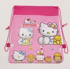 USA-Seller Hello Kitty Cartoon Printed Fabric Drawstring Bag For Girl