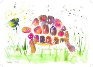 """Greeting card,  Colourful Tortoise & Bumble bee   7"""" by 5""""  By casimira Mostyn"""