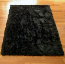Faux Fur Black Area Rug 5'x7'