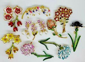 Flower brooch badge choice vintage style pin rhinestone enamel present gift box