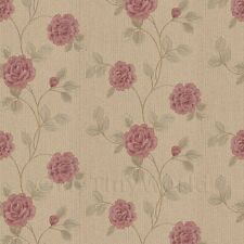 MyTinyWorld Pack of 5 Dolls House Dark Pink Climbing Rose Wallpaper Sheets