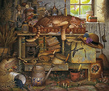 Charles Wysocki Remington The Horticulturist Whimscial Americana Cat with COA