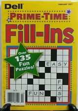 Dell Prime Time Fill Ins February 2017 Over 135 Fun Puzzles FREE SHIPPING sb