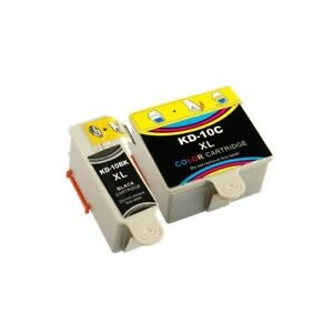 2 Ink Cartridges - Black and Colour - Kodak 10XL - Compatible Inks - Extra Fill