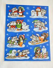 Vintage 1981 Hallmark Scratch n sniff sticker Sheet Christmas Penguins n cubs