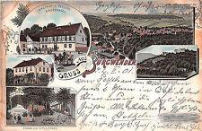 Gruss aus Burgwenden Fösterei Gasthof Bindernagel Lithographie 1901