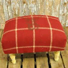 Retro Vintage Shabby Chic Red Stags Deer Head Fabric 4 Wooden Legs Footstool