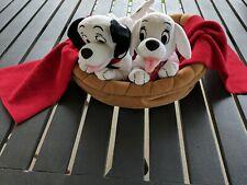 Rare Disney 101 Dalmatians Plush Oddball & Domino Puppy Basket Special Edition
