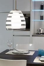 Lampadario lampada sospensione design moderno doppio vetro acciaio cromo cucina