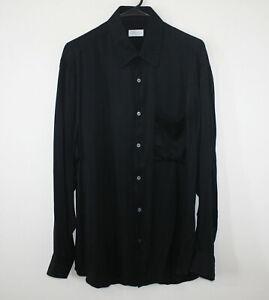 BRIONI 100% Silk Shirt Black Herringbone Weave Button Front Italy Men's Large