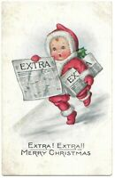 Adorable Extra! Extra! Antique Postcard Whitney Made Merry Christmas Worcester