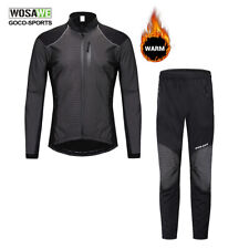 Winter Cycling Jacket Pants Set Fleece Thermal Warm Bike Jersey Bicycle Trousers