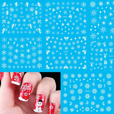 11pcs White Snow Flower Christmas Water Transfer Decals Nail Art Stickers