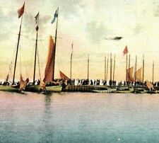 Scene at Inlet Atlantic City NJ pre-1906 people docks sailboats Vintage Postcard