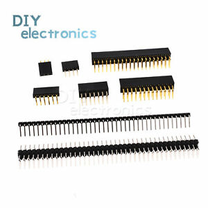 Pin Header 2.54mm Single/Double Row Right Angle Male/Female 3-40Pin Arduino US