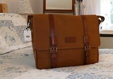Fossil Canyon Large Khaki Canvas Brown Leather Mens Laptop Macbook Messenger Bag