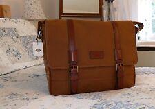 Fossil Canyon Large Olive Canvas Leather Mens Laptop MacBook Messenger Bag