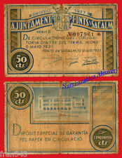 Billete local SANT HILARI FONTS DE SACALM 50 Centimos 1937 BC- / VG