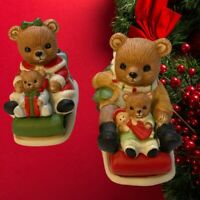 Vintage Bears on Snowmobiles Mom Dad and Kids Christmas Figurines by Homco
