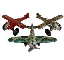 Three Antique Vintage Style Cast Iron Airplane Toys Paperweight Aeronautical