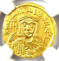 Michael II and Theophilus AV Solidus Gold Coin 821-829 AD - NGC Choice AU