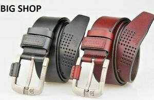 Leather Belt Genuine Cow hide Leather Men Belt with Quality Buckle Brown / Black