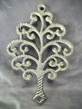 "Cast iron family tree shaped trivet black 7 3/4"" kitchen wall hang decor art"