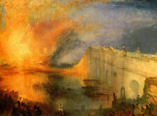 En feu Houses of Lords & Commons Turner Giclée Toile Imprimée/Beaux-arts Affiche