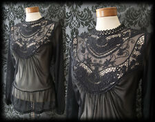 Gothic Black Lace Bib Detail VICTORIAN GOVERNESS Sheer Blouse 8 10 Vintage